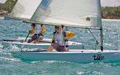 Teens sailing in Barbados