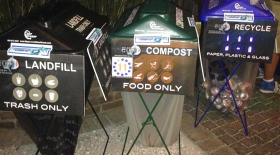 Three bins, trash, compost, recycling