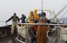 rain, tall ship, sailing, foul weather gear
